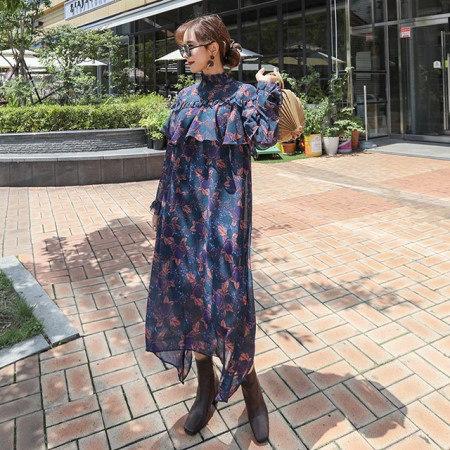 ヨリヨリしたフラワーパターンシフォンフリルロング秋ワンピースデイリールックkorea women fashion style