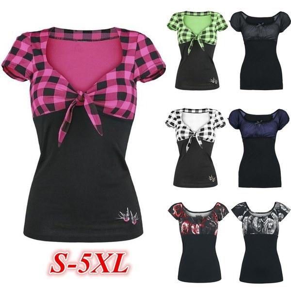 女性のファッション夏の半袖カジュアルなOネックパッチワークコットンTシャツトップZH5486