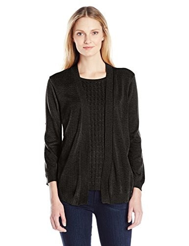 Alfred Dunner Womens Cable Knit Twofer Cardigan Sweater, Black, Medium
