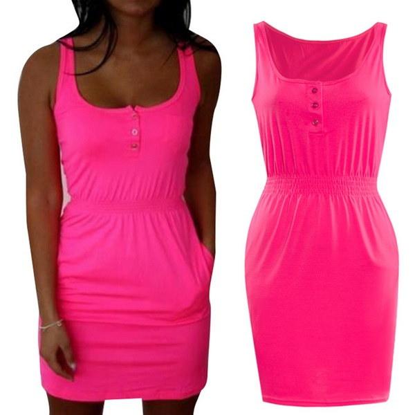 女性の夏のファッションビーチの蛍光灯ヒップスカートS-5XL Plusワンピースミニドレスプラス6色
