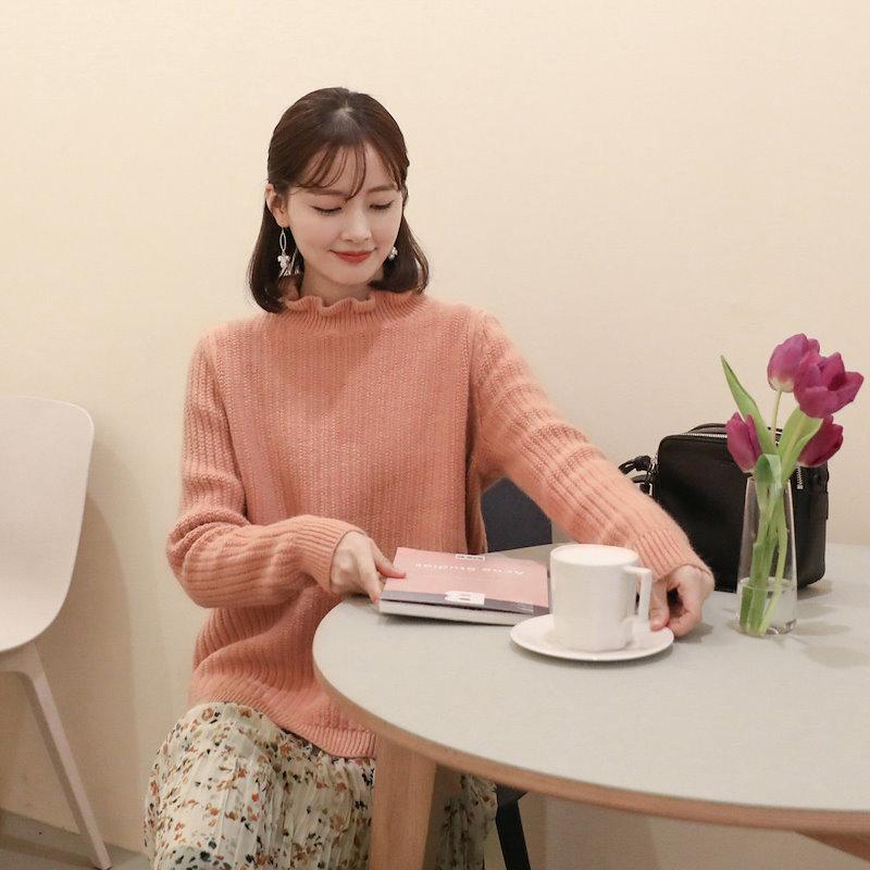 [CHERRYKOKO]フリルセミハイネックニット[2018S/S新作][送料無料]✯韓国ファッション✯C712PHKN228