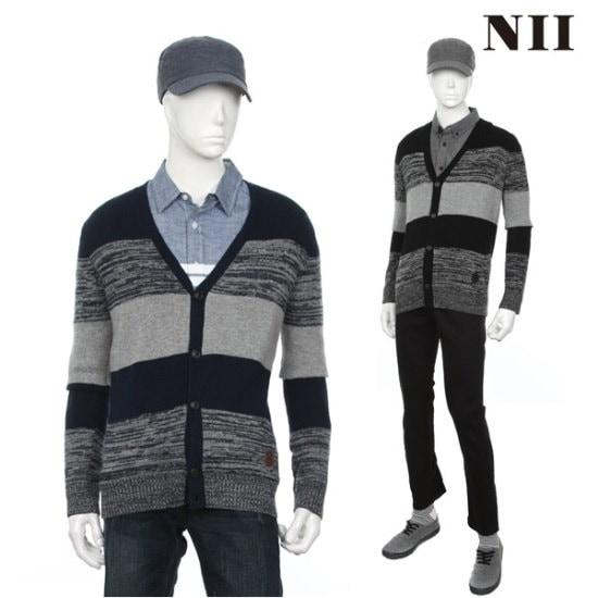 に男性・ストライプセーターカディゴン ニット/セーター/ニット/韓国ファッション