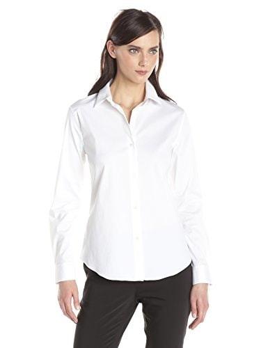 Theory Womens Tenia Luxe Shirt, White, Large