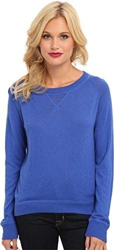 C&C California Womens Plaid Detail Cashmere Blend Sweater, Dazzling Blue, Large