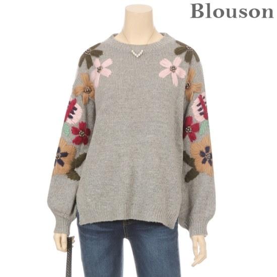 ブルルジョンブルルジョンフラワービーズ刺繍・バルーンニットB1712KN215D ニット/セーター/パターンニット/韓国ファッション