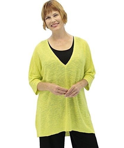 Eileen Fisher Plus Organic Linen/Cotton Slub V-Neck Top Honeydew 1X