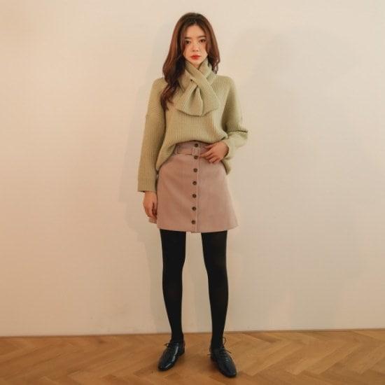 【ツイ]ショールset Vネックニット ニット/セーター/ニット/韓国ファッション