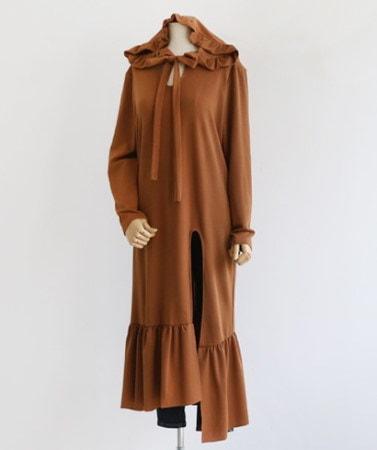 サイドひらきフリルフードロングワンピース30566デイリールックkorea women fashion style