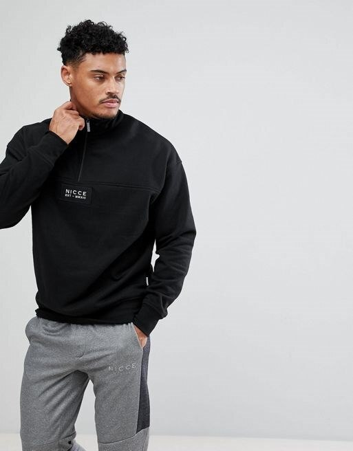 Nicce London Sweatshirt With Half Zip Funnel Neck