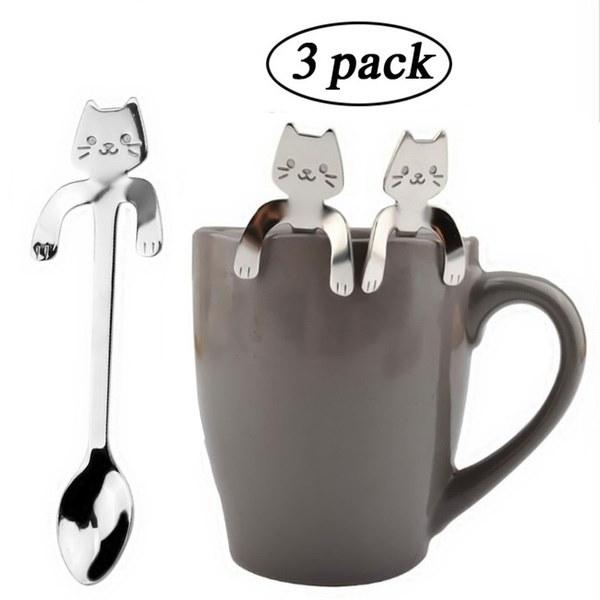 かわいい猫のスプーンロングハンドルのスプーンのフラットウェア飲み物のツールキッチンガジェット
