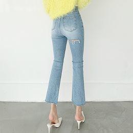 ✨DRESSCAFE✨[韓国ファッション] ♥ Limited item!♥ ウエストスリットブーツカットデニムパンツ
