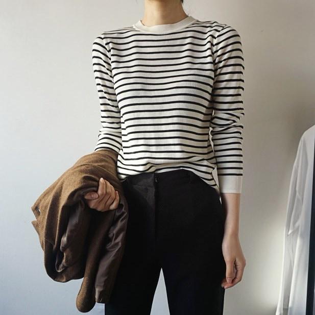 [ラルム】シンプルストライプニット4col korea fashion style