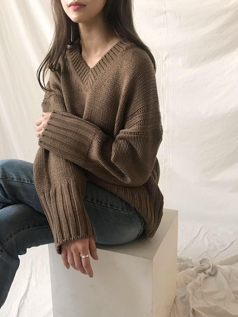 タウンデイリーVネックルーズフィットニットkorea fashion style