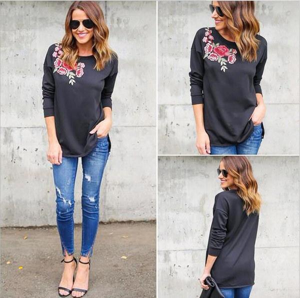 ファッションレディースショルダー刺繍ロングスリーブボトムカジュアルTシャツ