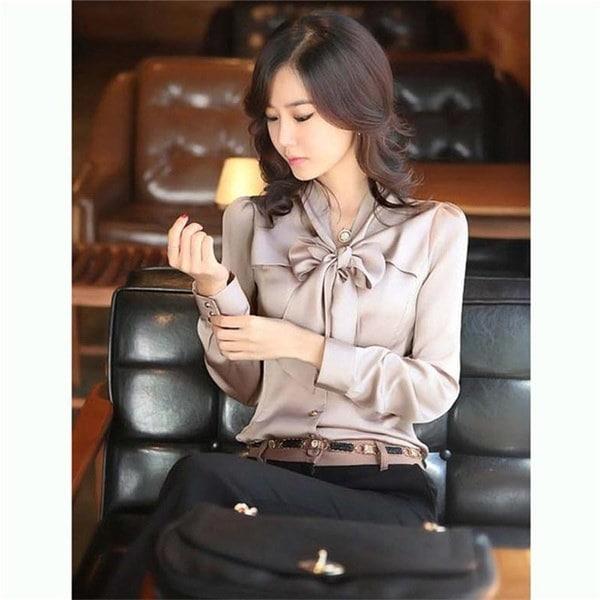 秋の新しいサテンのシルクフリルの弓のネクタイ長袖の女性のブラウスシャツOL
