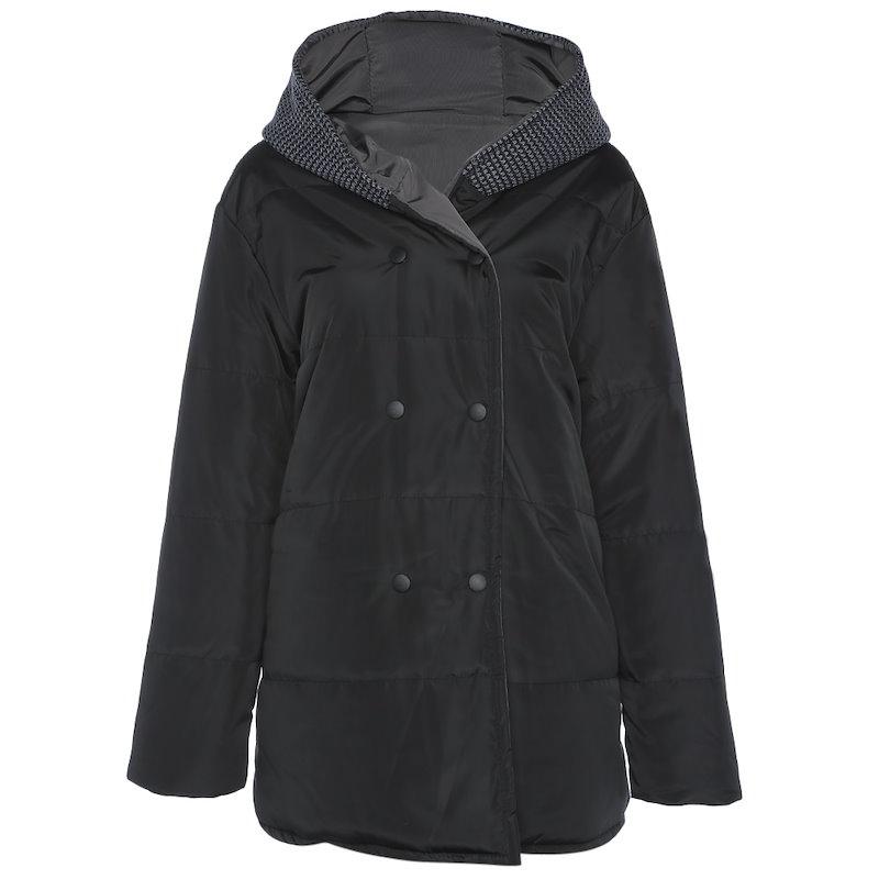 トレンディなフード付き長袖ポケットレディースコート