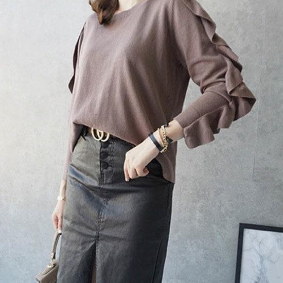 モニカルームラッフルニット ニット/セーター/ニット/韓国ファッション