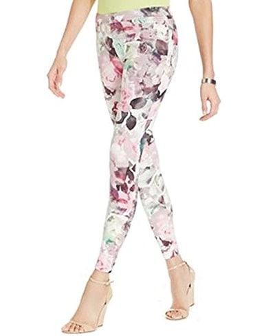 HUE Womens Large Floral Print Super Smooth Denim Leggings Size Medium Sweet Lilac