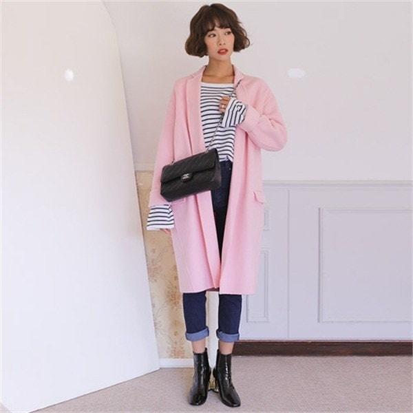 ウール90オルバンルージュハンドメードコート 女性のコート/ 韓国ファッション/ジャケット/秋冬/レディース/ハーフ/ロング/