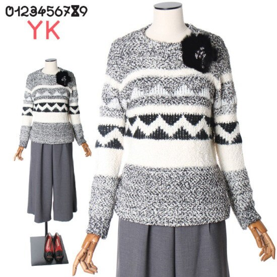 ワイケー幾何学文配色ニートY164C920 ニット/セーター/タートルネック/ポーラーニット/韓国ファッション