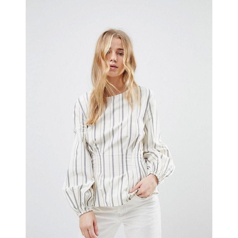 ニュールック レディース トップス【New Look Stripe Cotton Puff Sleeve Top】White pattern