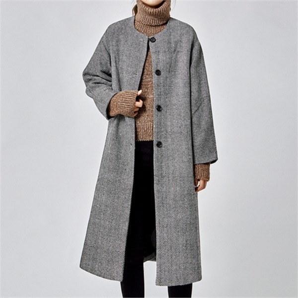 GBLACKヘリンボーンノカラコートjr1273jknew 女性のジャケット / 韓国ファッション/ジャケット/秋冬/レディース/ハーフ/ロング/