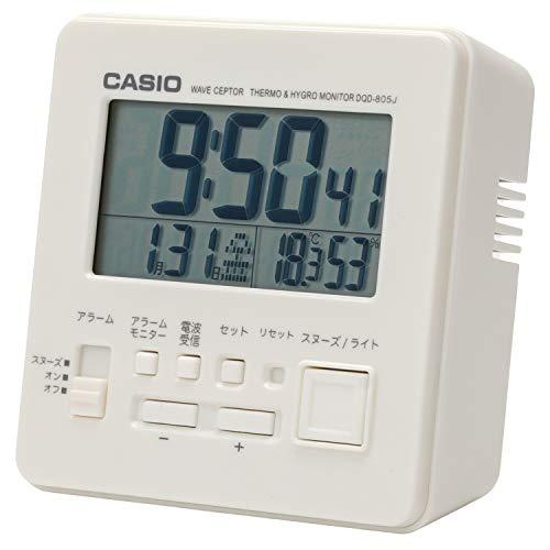 CASIO(カシオ) 目覚まし時計 電波 ホワイト デジタル 温度 湿度 カレンダー 表示 DQD-805J-7JFホワイト