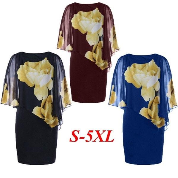 女性のファッションスリットスリーブ花柄のドレスアップ - 黒