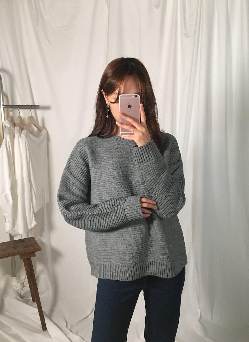 ノンテストベーシックラウンドニットkorea fashion style