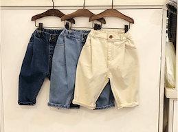 2020年秋韓国の子供服、男の子と女の子の韓国のファッションプリーツジーンズ