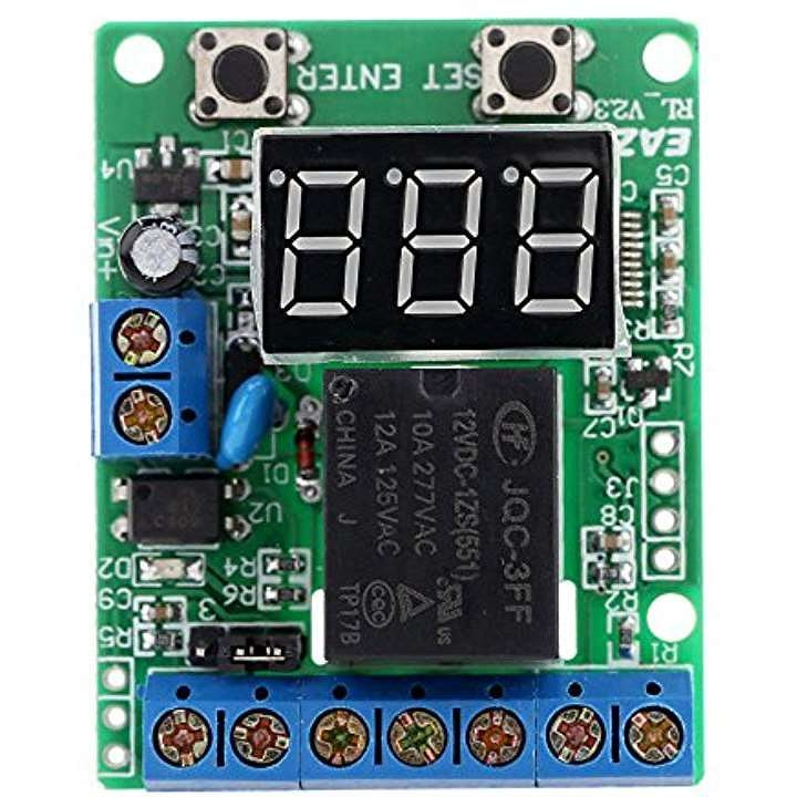 DC 12V リレーモジュール 充電放電モニタテスト 電圧検出 リレースイッチ コントロールボード