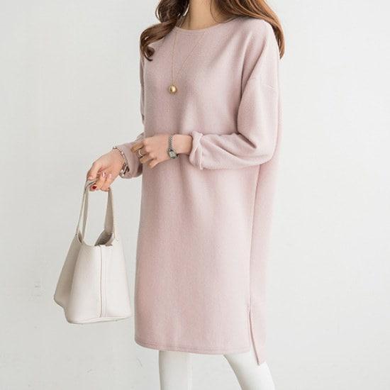 ペッパーソフトロングスリットワンピース35017 綿ワンピース/ 韓国ファッション