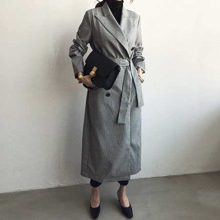Eye Check Trench Coat Korean Style