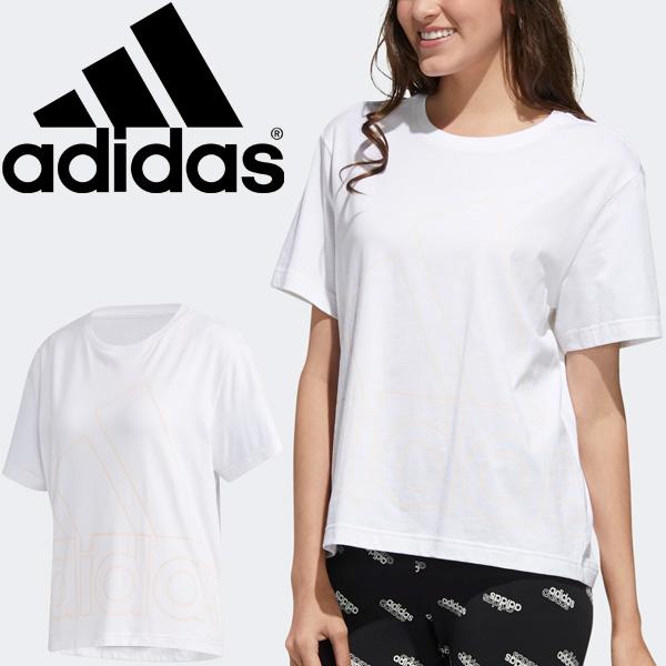 半袖 Tシャツ レディース/アディダス adidas W FAVOURITES Tシャツ/スポーツウェア プリントT ホワイト 白 トップス 半袖シャツ 家トレ/14639-GK3331