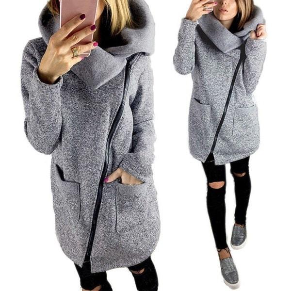 CKHO S-5XL Damen Winterウォームジップアップフード付きスエットシャツOversize Outwear Coat