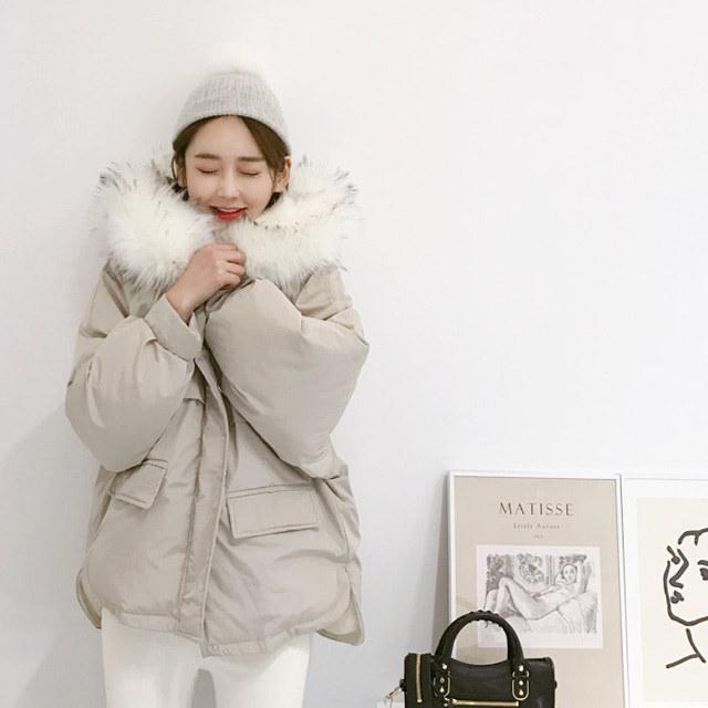 ああきれいファーフードパディングkorean fashion style