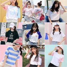 50b684abd4c2a 韓国ファッション レディースファッション Tシャツ 半袖合集 夏新作 百搭 半袖Tシャツ ゆったり