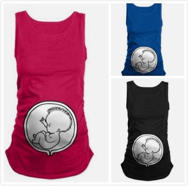 夏の女性のファッションファニーパターンプリントカジュアルルーズ女性のベスト妊娠中の母性妊娠