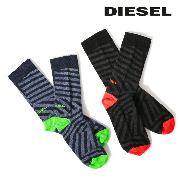 ディーゼル DIESEL クルーソックス 靴下 メンズ マルチボーダーストライプ ネオンカラー切替 SKM-RAY die-m-a-a1-024