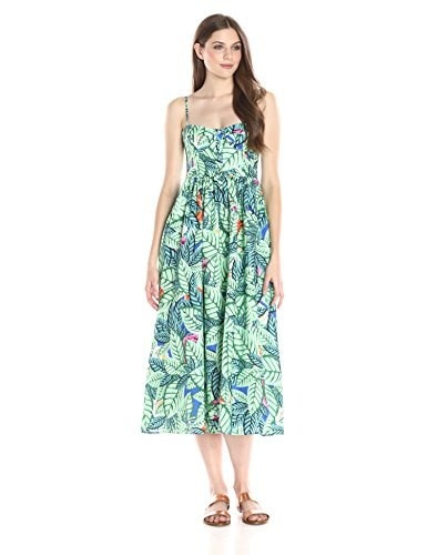 Mara Hoffman Womens Leaf Print Dress, Blue/Multi, 8