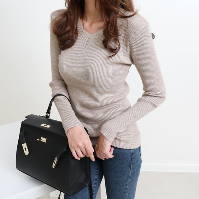 [Dimming] Four-color knit collar knit neck