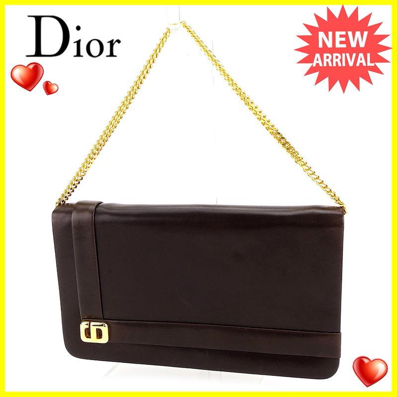 ディオール Dior ショルダーバッグ チェーンショルダー バッグ レディース   ブラウン×ゴールド レザー ヴィンテージ 人気 【中古】 T3339 .