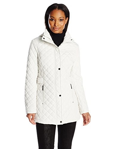 Calvin Klein Womens Classic Quilted Jacket with Side Tabs, Pearl, X-Large