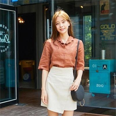 ウェーブカラブラウスnew 女性ブラウス/プリントブラウス/韓国ファッション