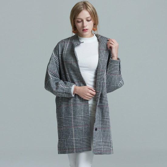 渓谷をボリューム・スリーブチェックロングジャケット243460 ニット/セーター/韓国ファッション