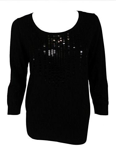 August Silk Womens 3/4 Sleeve Blouse Medium Black