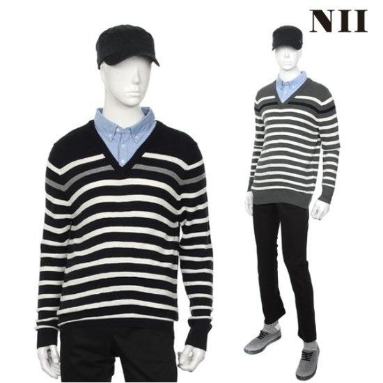 に男性・ストライプウブンエリセーター ニット/セーター/ニット/韓国ファッション