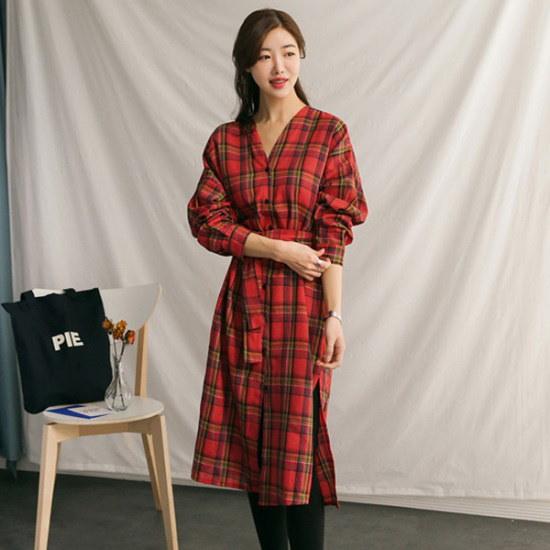 るみさんるみさんタータンチェックブイシャツ、ワンピース 綿ワンピース/ 韓国ファッション