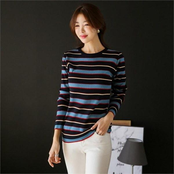 (ルミさん)もも色のストライプのニットnew 女性ニット/ラウンドニット/韓国ファッション