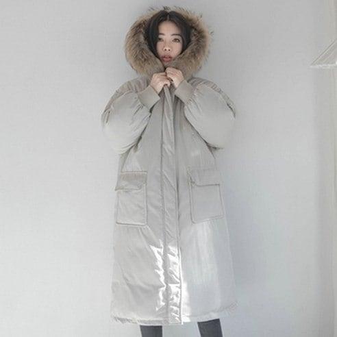 【WhiteFox]リアルラクーン6きスウェルロンロンパディングkorean fashion style
